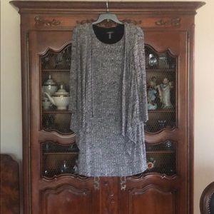 Gray black white knit dress with cardigan